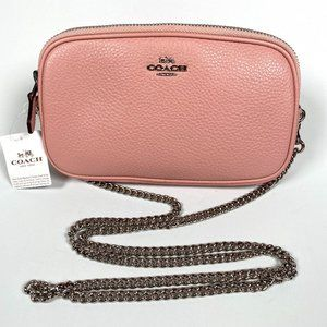 COACH - CROSSBODY POUCH CAMERA BAG IN PEBBLED PINK LEATHER - NEW